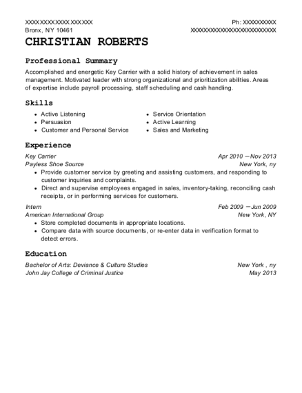 Key Carrier resume example New York