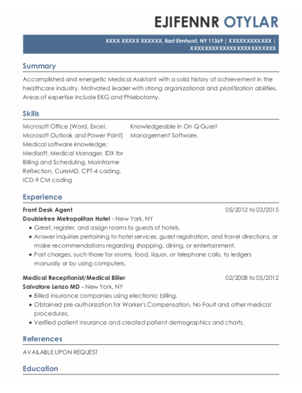 Front Desk Agent resume example New York