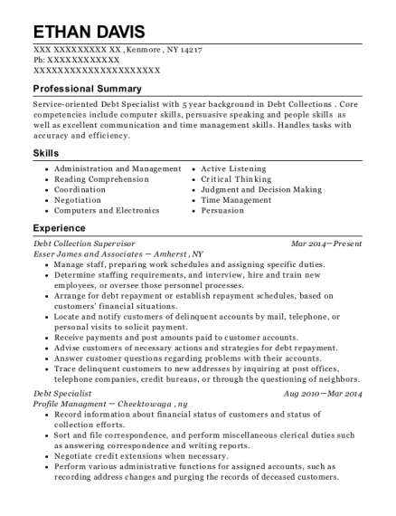 Debt Collection Supervisor resume template New York
