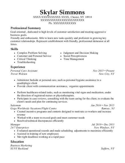 Personal Care Assistant resume format New York