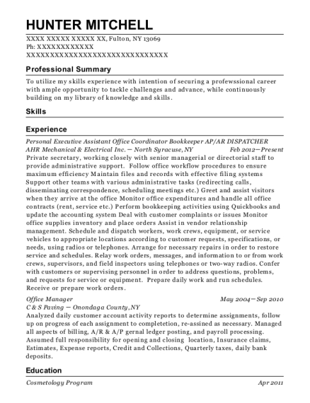 Personal Executive Assistant Office Coordinator Bookkeeper AP resume template New York
