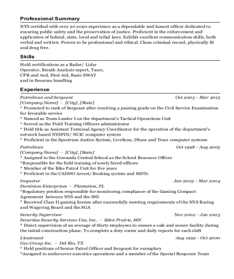 Patrolman and Sergeant resume template New York