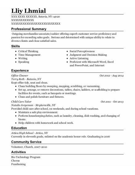 Office Cleaner resume template New York