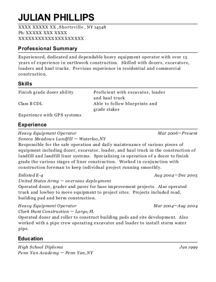 Heavy Equipment Operator resume template New York