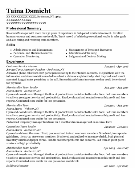 Customer Service Advisor resume example New York