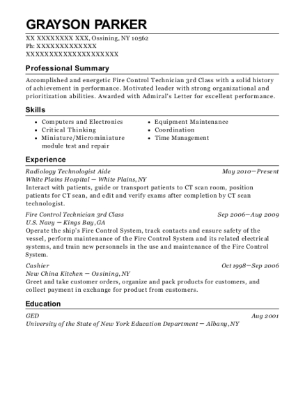 Radiology Technologist Aide resume example New York