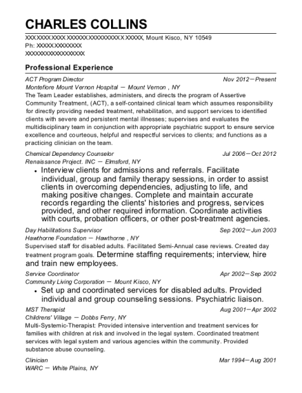 ACT Program Director resume sample New York