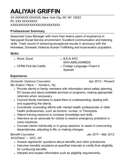 Domestic Violence Counselor resume template New York