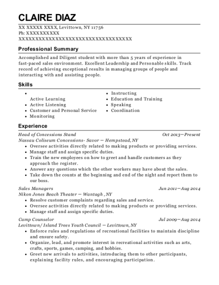 Head of Concessions Stand resume example New York