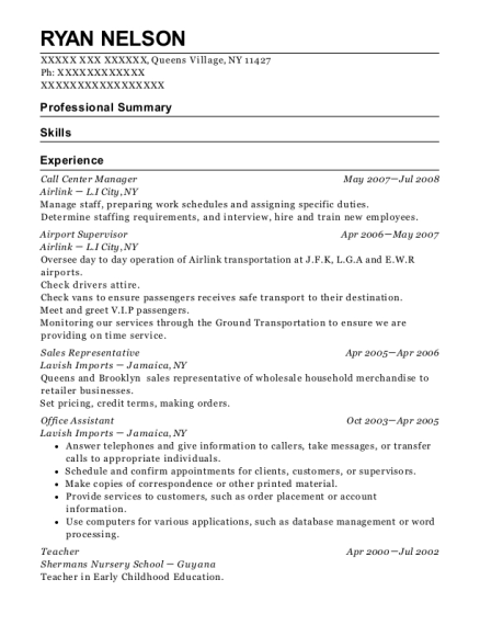 Call Center Manager resume example New York