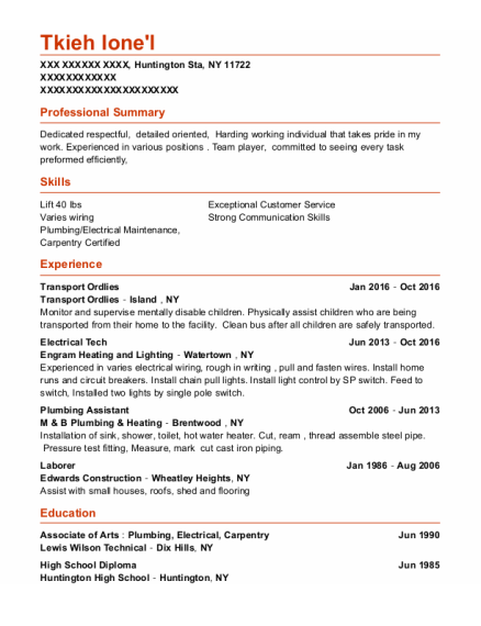 Electrical Tech resume example New York