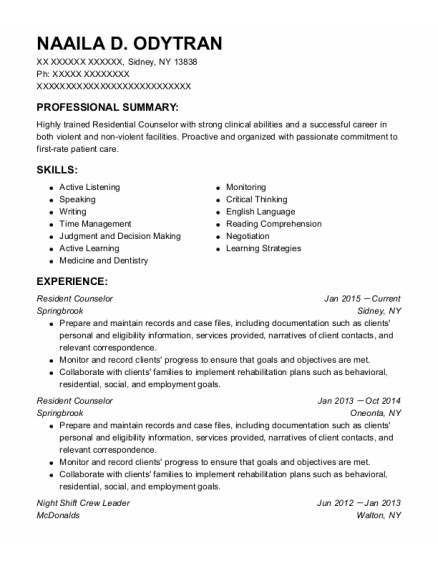 Resident Counselor resume format New York