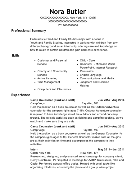 Camp Counselor resume sample New York