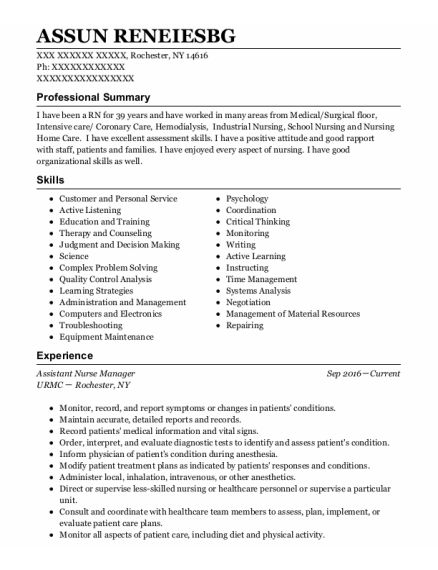 Assistant Nurse Manager resume sample New York