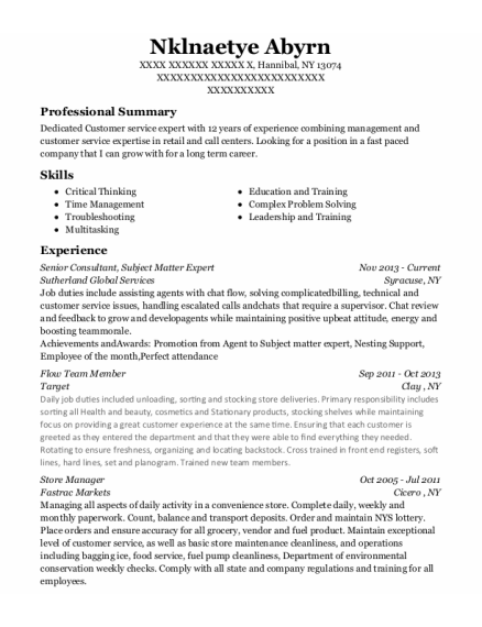 Senior Consultant resume template New York