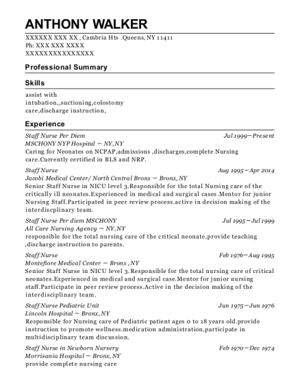 Staff Nurse Per Diem resume example New York
