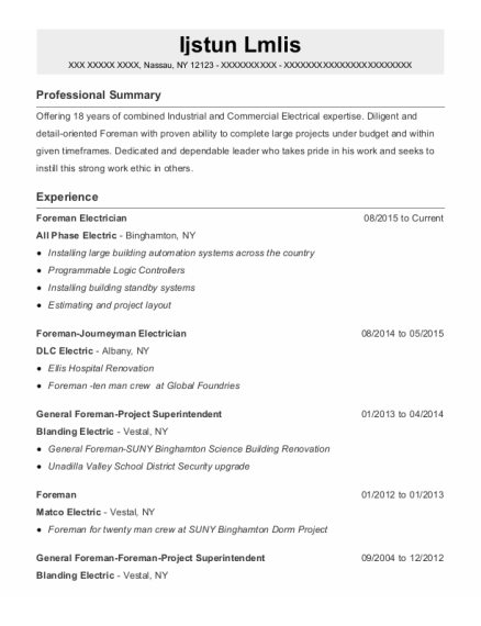Foreman Electrician resume format New York