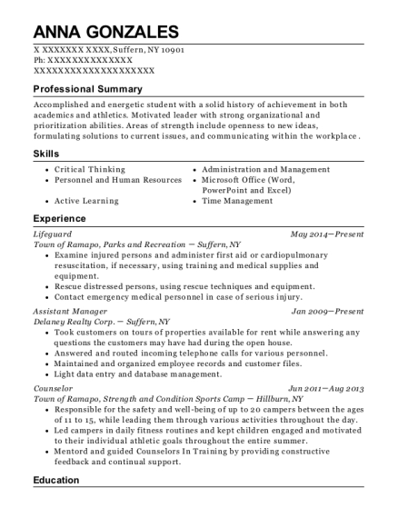 Lifeguard resume example New York