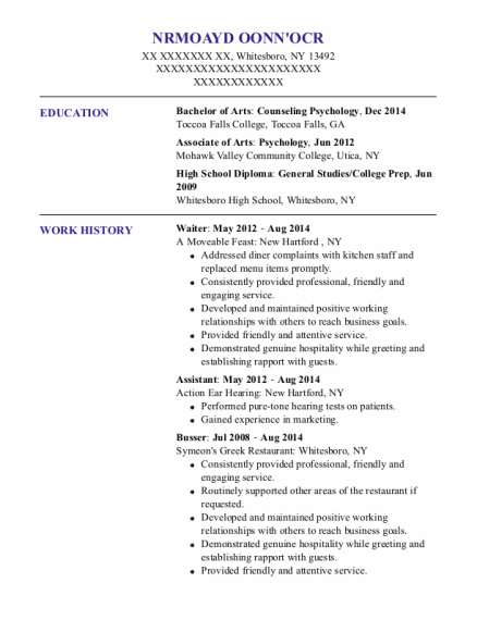 Waiter resume sample New York