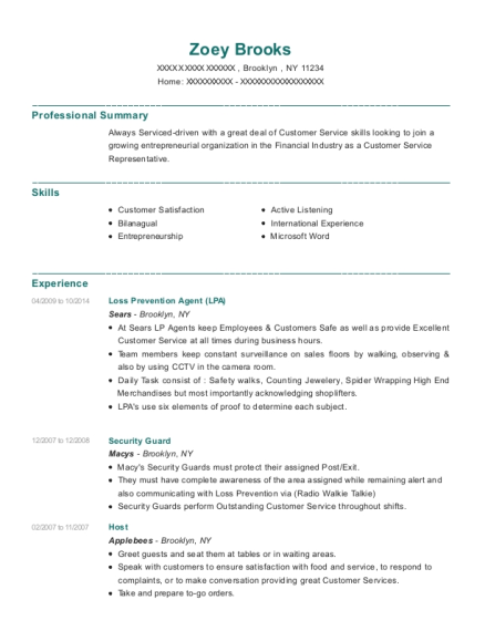 Loss Prevention Agent resume example New York