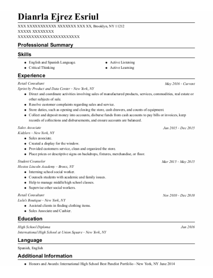 Retail Consultant resume template New York