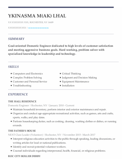 Domestic Engineer resume example New York