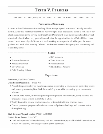 Patrolman resume example New York