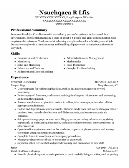 Sitter resume format New York
