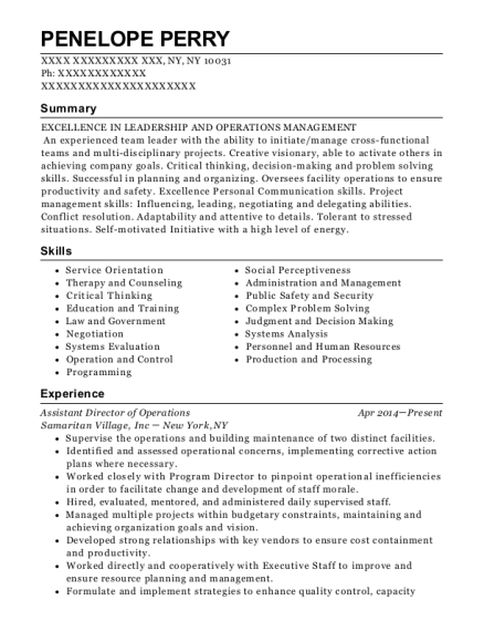 Assistant Director of Operations resume example New York