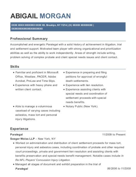 Paralegal resume example New York