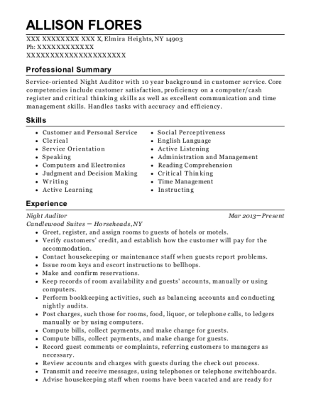 Night Auditor resume format New York