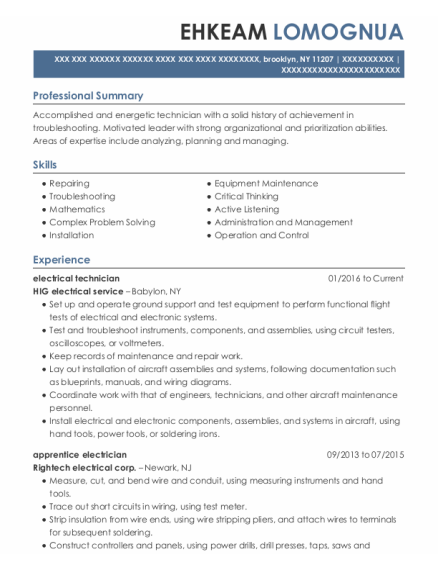 Electrical Technician resume example New York