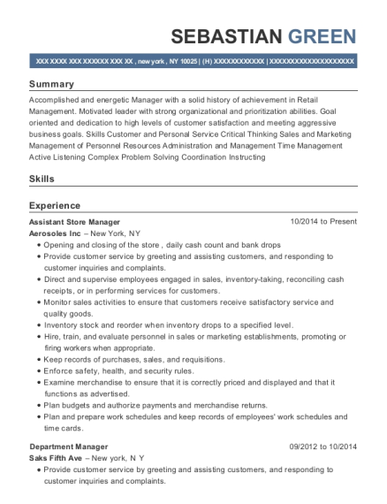 Assistant Store Manager resume sample New York