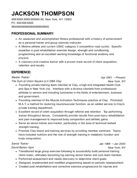 Master Trainer resume format New York