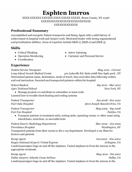 Patient Transporter resume template New York