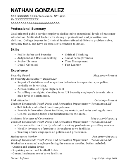Security Guard resume example New York