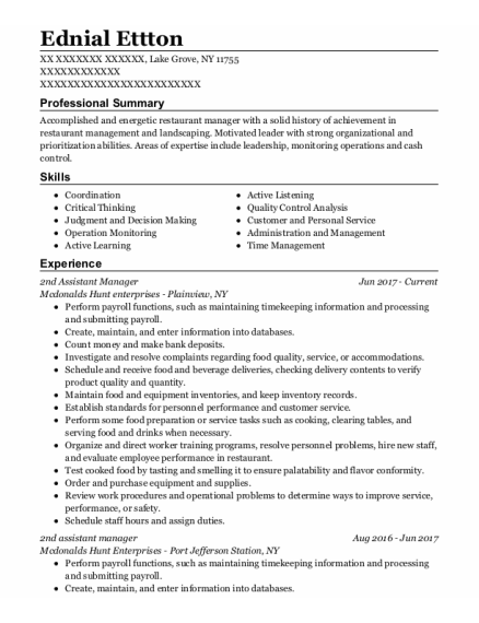 2Nd Assistant Manager resume sample New York