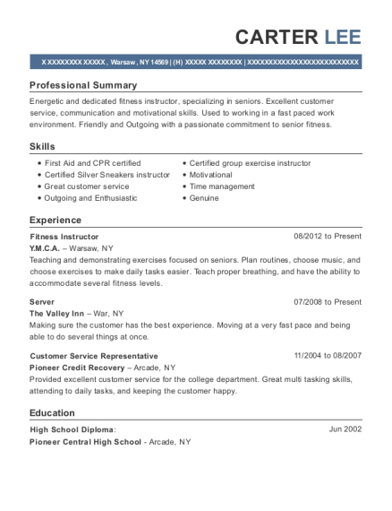 Fitness Instructor resume template New York