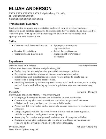 Outside Sales and Service resume template New York
