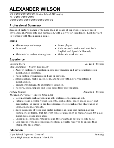 Grocery Clerk resume template New York