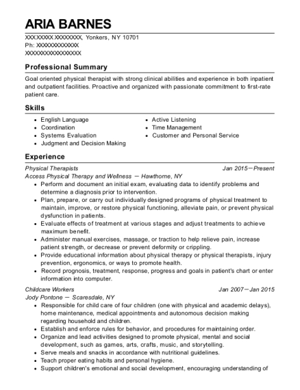 Physical Therapists resume template New York