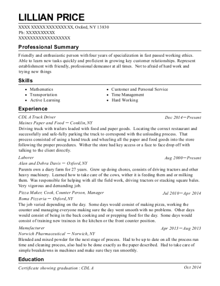 CDL A Truck Driver resume format New York