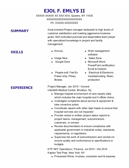 Project Manager resume example New York