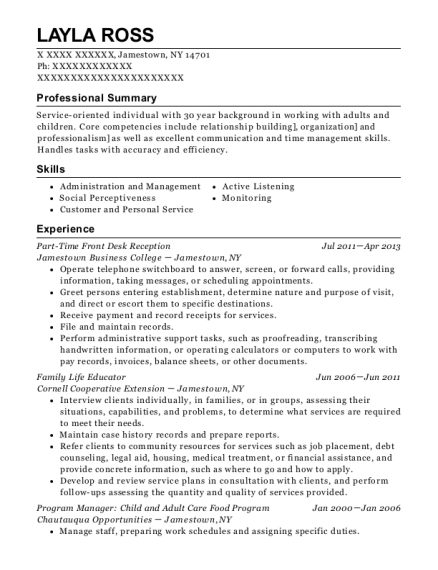 Part Time Front Desk Reception resume format New York