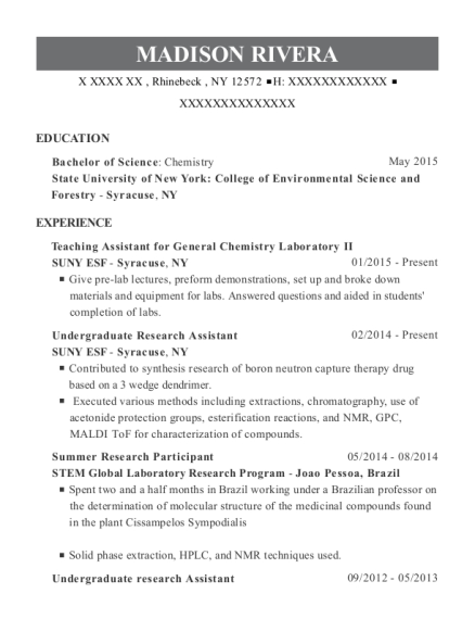 Teaching Assistant for General Chemistry Laboratory II resume format New York