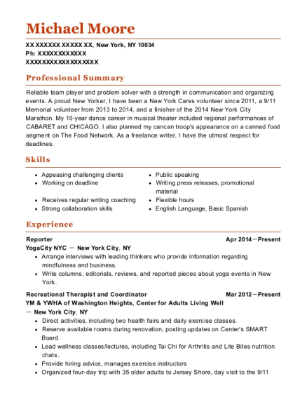 Reporter resume sample New York
