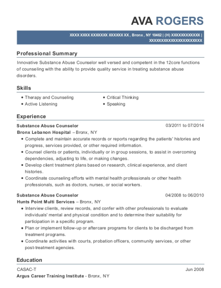 Substance Abuse Counselor resume sample New York