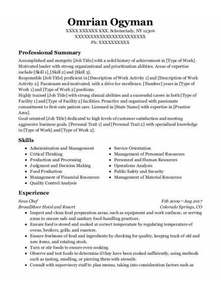 Sous chef resume example New York