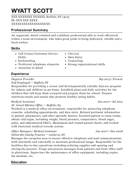 Daycare Provider resume example New York