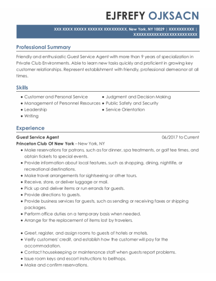 Guest Service Agent resume sample New York